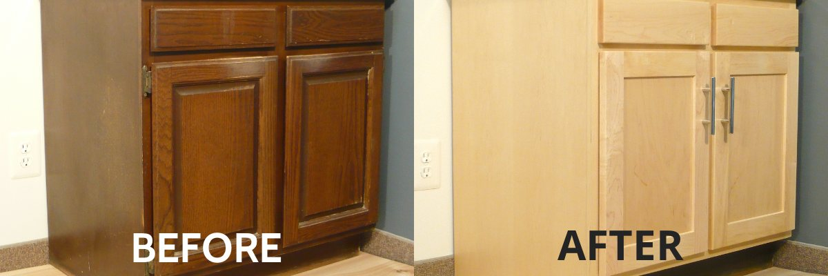 Refinishing Kitchen Cabinets Before And After. Perfect Way To Take An  Outdated Wood Color And Modernize It.